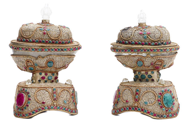 A pair of hardstone set and metal filigree mounted rock crystal jardinieres