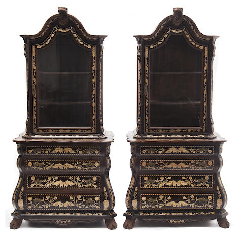 A pair of Dutch style vitrine shelved cabinets