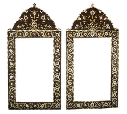 A pair of Moorish style inlaid mirrors