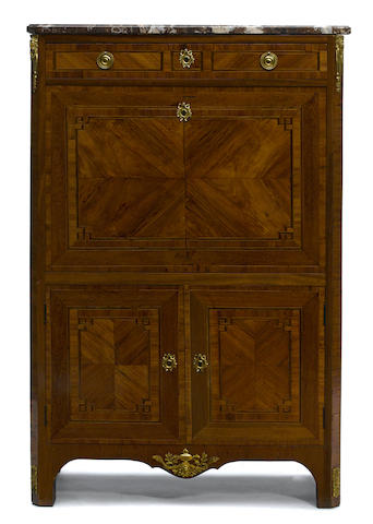 A Louis XV/XVI Transitional style walnut secretary with marble top