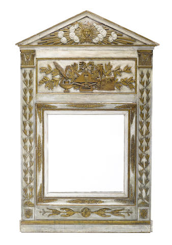 A Neoclassical gilt and paint decorated mirror
