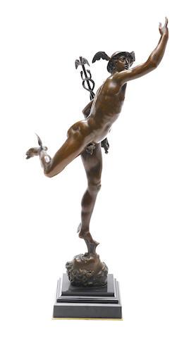 A patinated bronze figure of Mercury