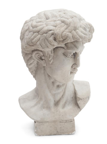 An Italian carved marble bust of David