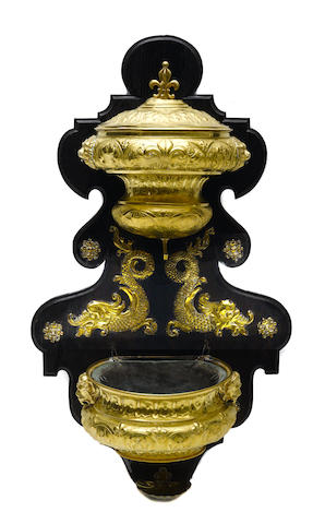 A Continental gilt brass and hardwood lavabo