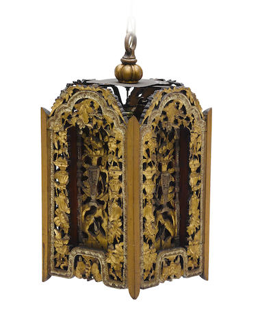 A Chinese carved giltwood hall lantern