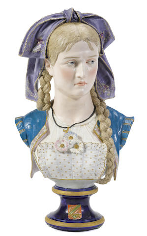 A French bisque porcelain bust of a maiden in Renaissance attire