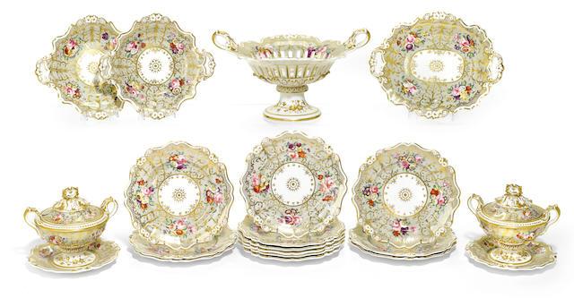 An English porcelain part dessert service