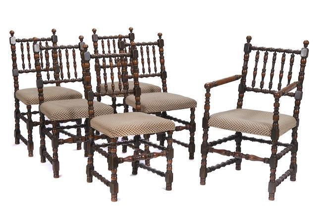 A set of six Charles II style oak chairs