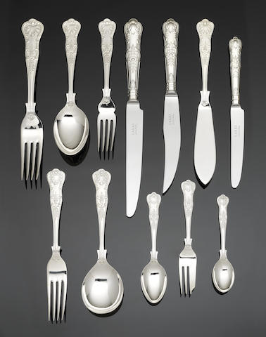 An unused silver Queen's pattern table service flatware and cutlery