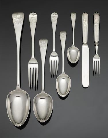 A Victorian silver Admiralty pattern flatware service