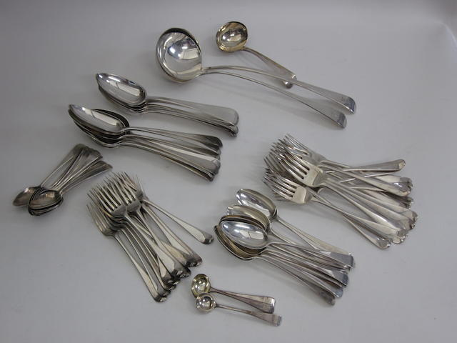A George III silver Old English pattern flatware service
