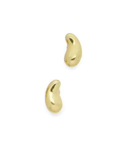 A pair of gold 'Bean' earclips
