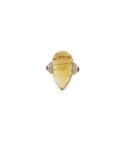 A citrine, ruby and diamond dress ring