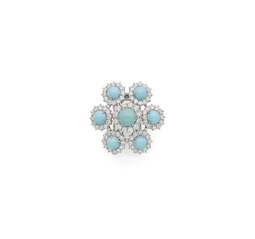 A turquoise and diamond clip brooch