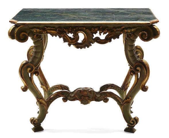 An Italian Baroque parcel gilt paint decorated console