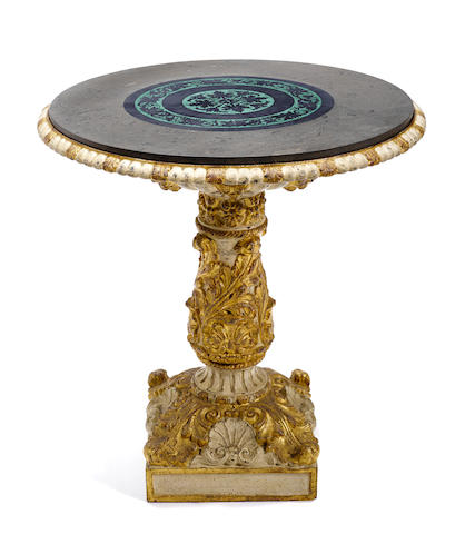 A Continental paint decorated cast iron center table