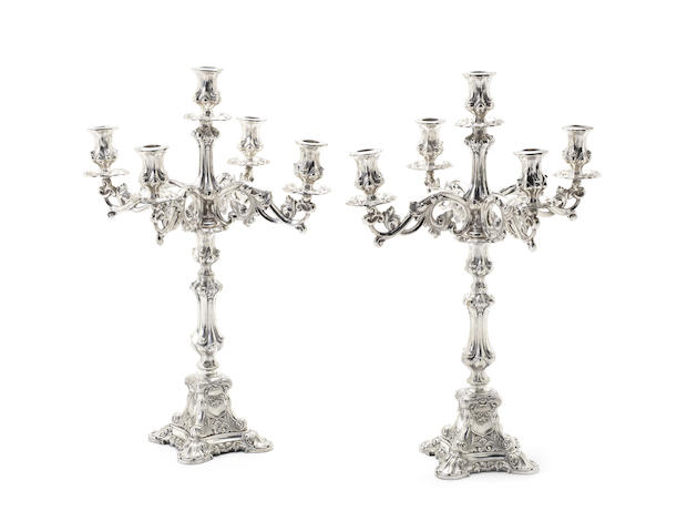 A pair of late 19th / early 20th century Continental silver five-light candelabra