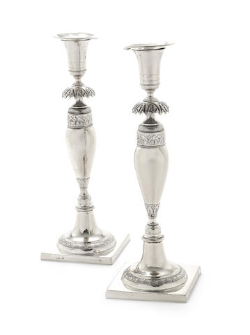 A pair of 19th century German silver candlesticks