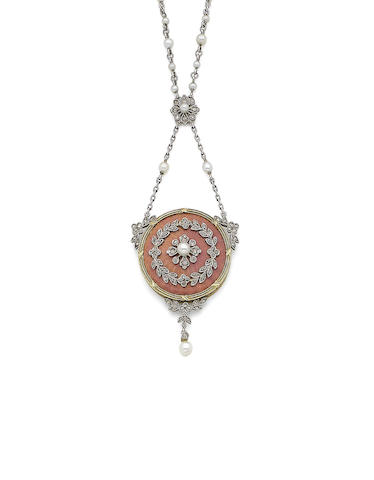 An enamel, seed pearl and diamond necklace