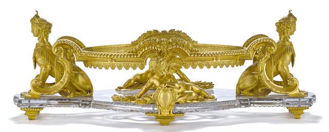 An impressive Belle Époque gilt bronze mounted cut glass centerpiece