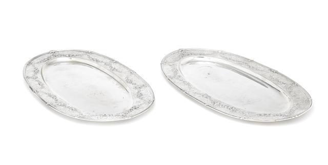 A pair of German silver platters