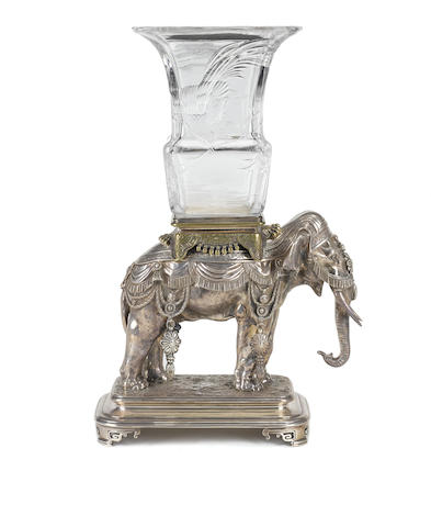An important Baccarat crystal and silvered bronze elephant vase