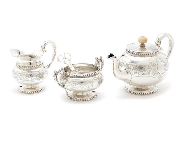 A 19th century Austrian silver three-piece tea service