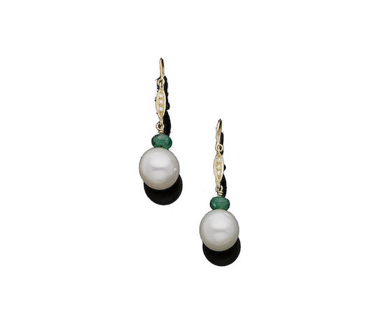 A pair of cultured pearl, emerald and diamond earrings