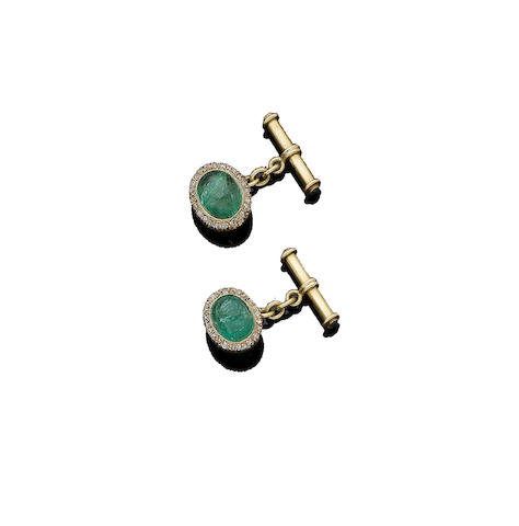 A pair of emerald and diamond cufflinks