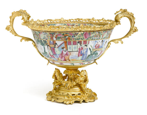 A French gilt bronze mounted Chinese Famille Rose porcelain center bowl