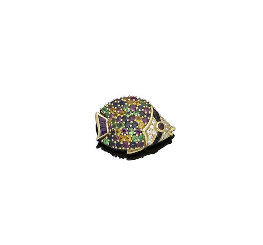 A multi gem-set and diamond fish brooch