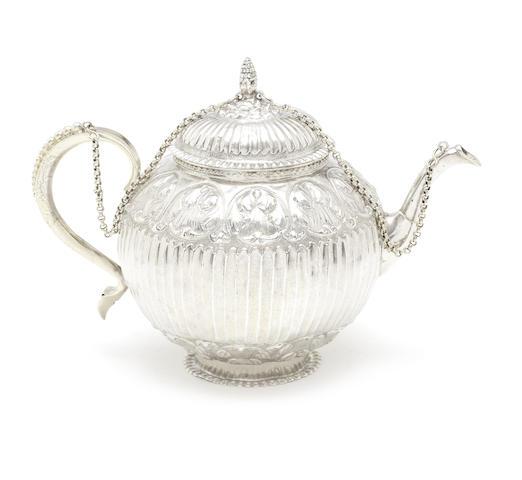 An 18th century Dutch silver and silver-gilt teapot