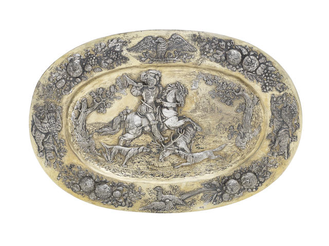 A German silver and silver-gilt wall plate / platter