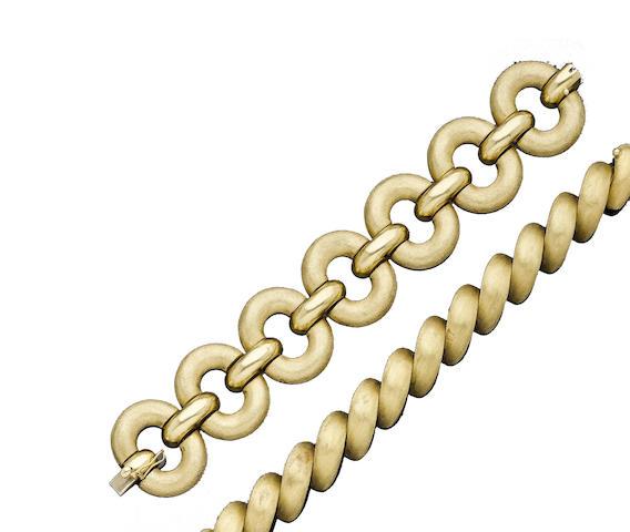 Two fancy-link bracelets