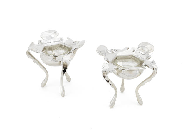 A pair of Dutch silver salts