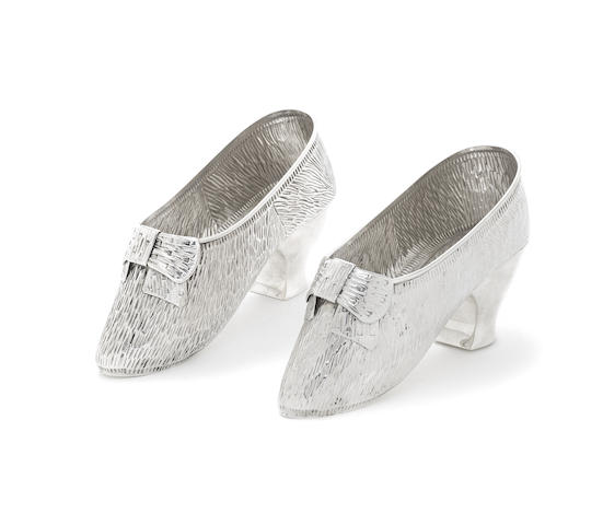 A pair of 20th century Continental silver shoes