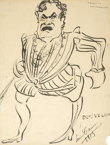Original pen and ink self-caricature,