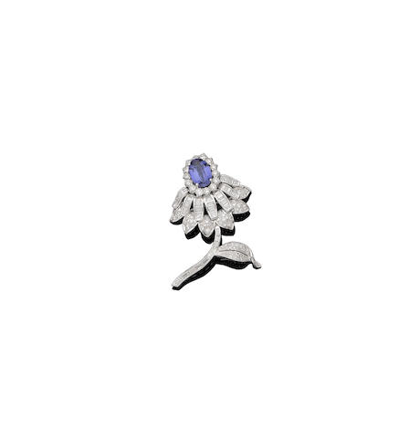 A tanzanite and diamond floral brooch