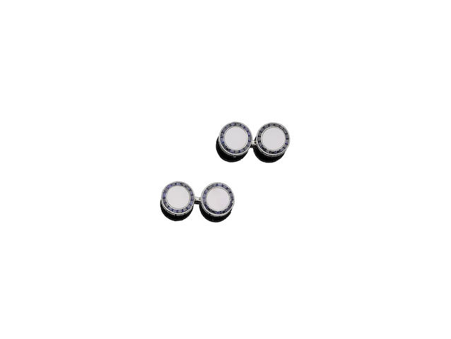 A pair of mother-of-pearl and sapphire cufflinks