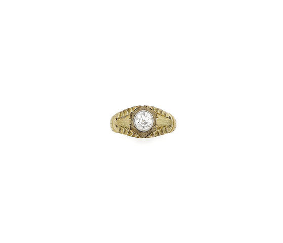 A diamond single-stone ring and a diamond pendant necklace