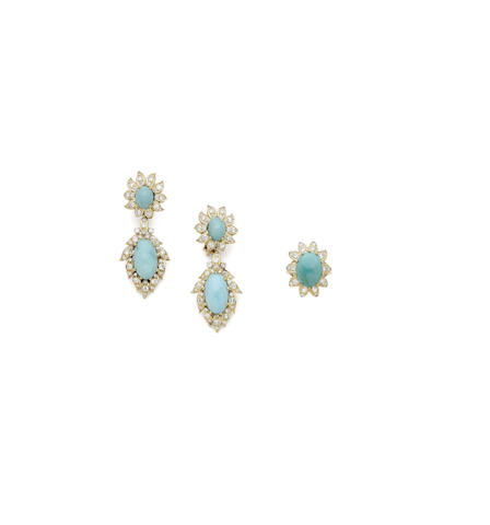 A pair of turquoise and diamond pendent earclips and ring suite