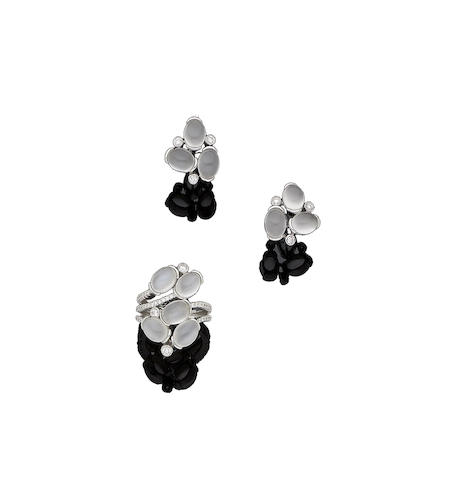 A moonstone and diamond ring and earring suite