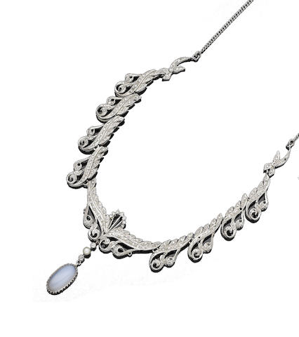 A cultured pearl, moonstone and diamond necklace