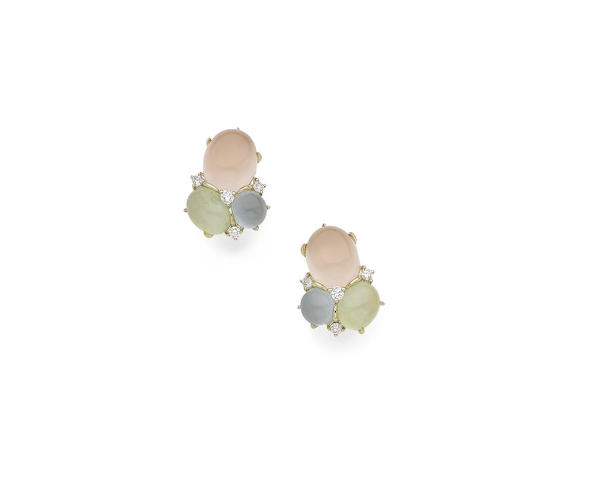 A pair of gem-set and diamond earclips
