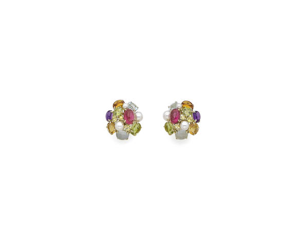 A pair of cultured pearl and gem-set earclips