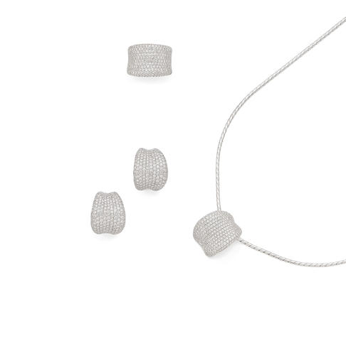 A diamond-set ring, earring and necklace suite