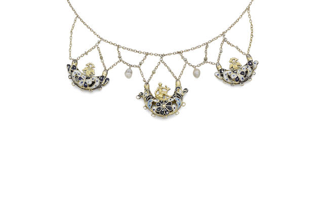 An enamel and pearl necklace