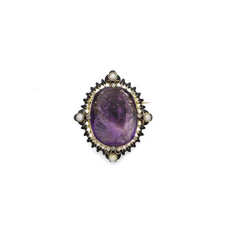 A pearl, enamel and amethyst cameo brooch