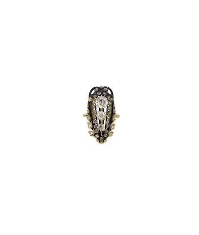 An enamel and diamond dress ring
