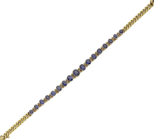 A sapphire-set bracelet